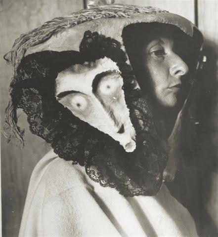 Remedios+Varo,+wearing+a+mask+made+by+Leonora+Carrington+and+Kati+Horna,+1957+(Kati+Horna)